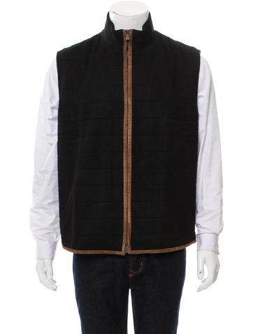 Loro Piana Suede-Trimmed Cashmere Vest None