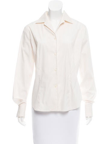 Loro Piana Pinstripe Button-Up Top None
