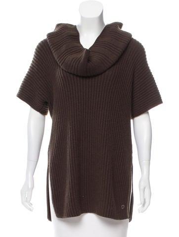 Loro Piana Cashmere Leather-Trimmed Top None