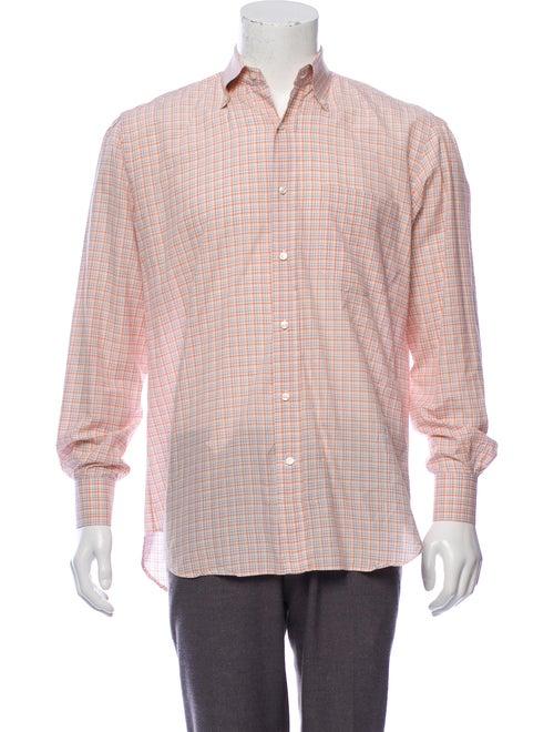 Loro Piana Madras Plaid Button-Up Shirt orange