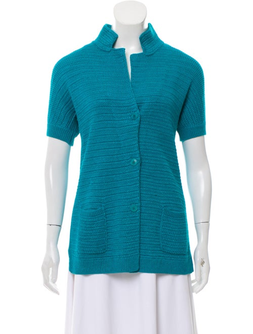 Loro Piana Short Sleeve Lightweight Cardigan Blue