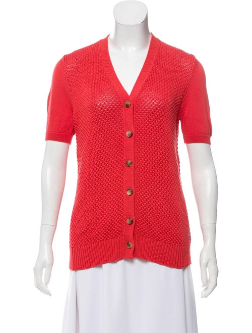 Loro Piana Lightweight Short Sleeve Cardigan Coral