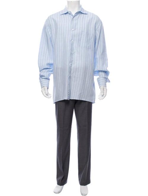 Loro Piana Linen Striped Shirt blue