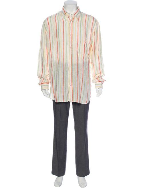 Loro Piana Linen Striped Dress Shirt Green