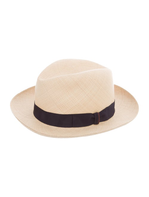 Loro Piana Straw Fedora Hat Tan