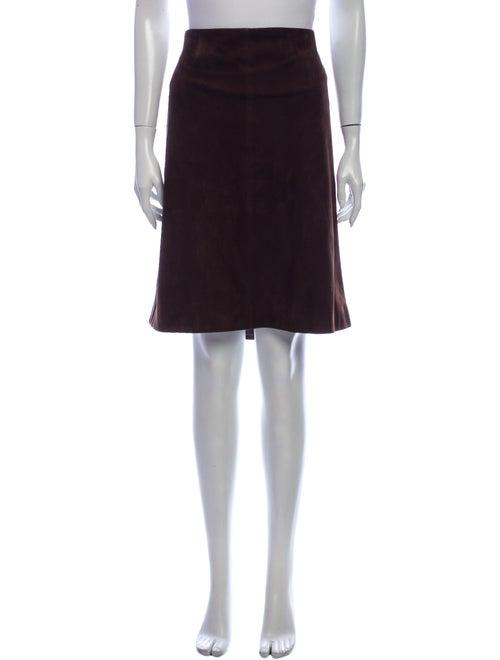 Loro Piana Suede Knee-Length Skirt Brown