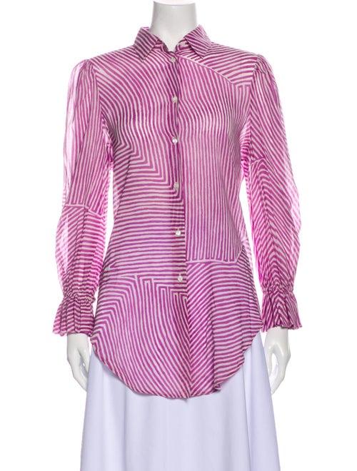 Loro Piana Silk Striped Button-Up Top Purple