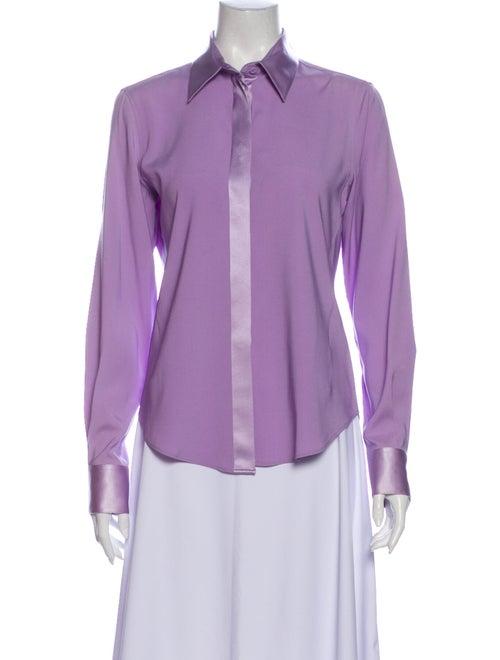 Loro Piana Silk Long Sleeve Button-Up Top Purple