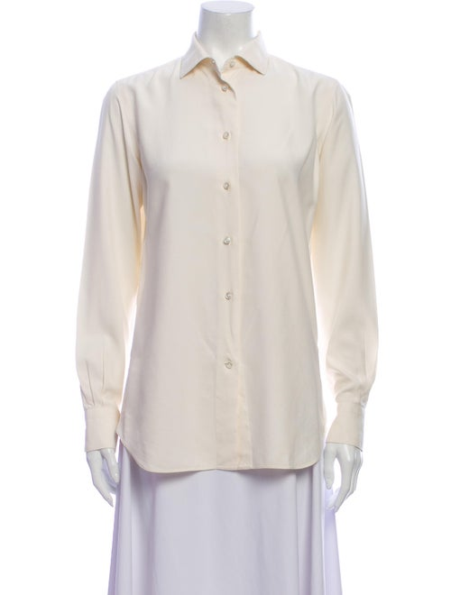 Loro Piana Silk Long Sleeve Button-Up Top
