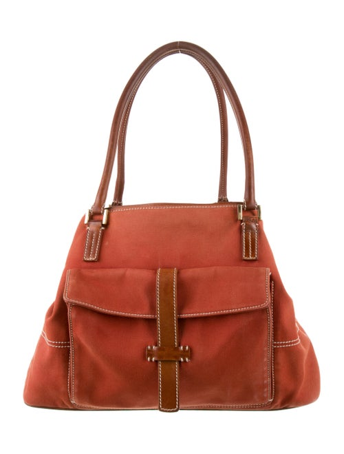 Loro Piana Globe Leather-Trimmed Tote Brown
