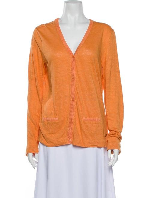Loro Piana Linen V-Neck Sweater Orange