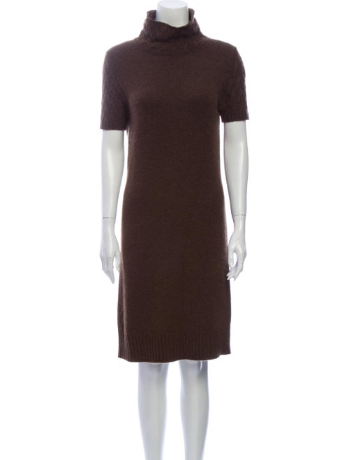 Loro Piana Turtleneck Knee-Length Dress Brown