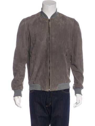 Lot78 Suede Bomber Jacket None