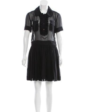 Louis Vuitton Ruffle-Accented Mini Dress None