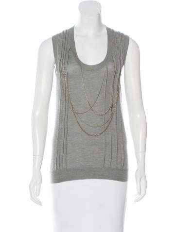 Louis Vuitton Cashmere Embellished Top None