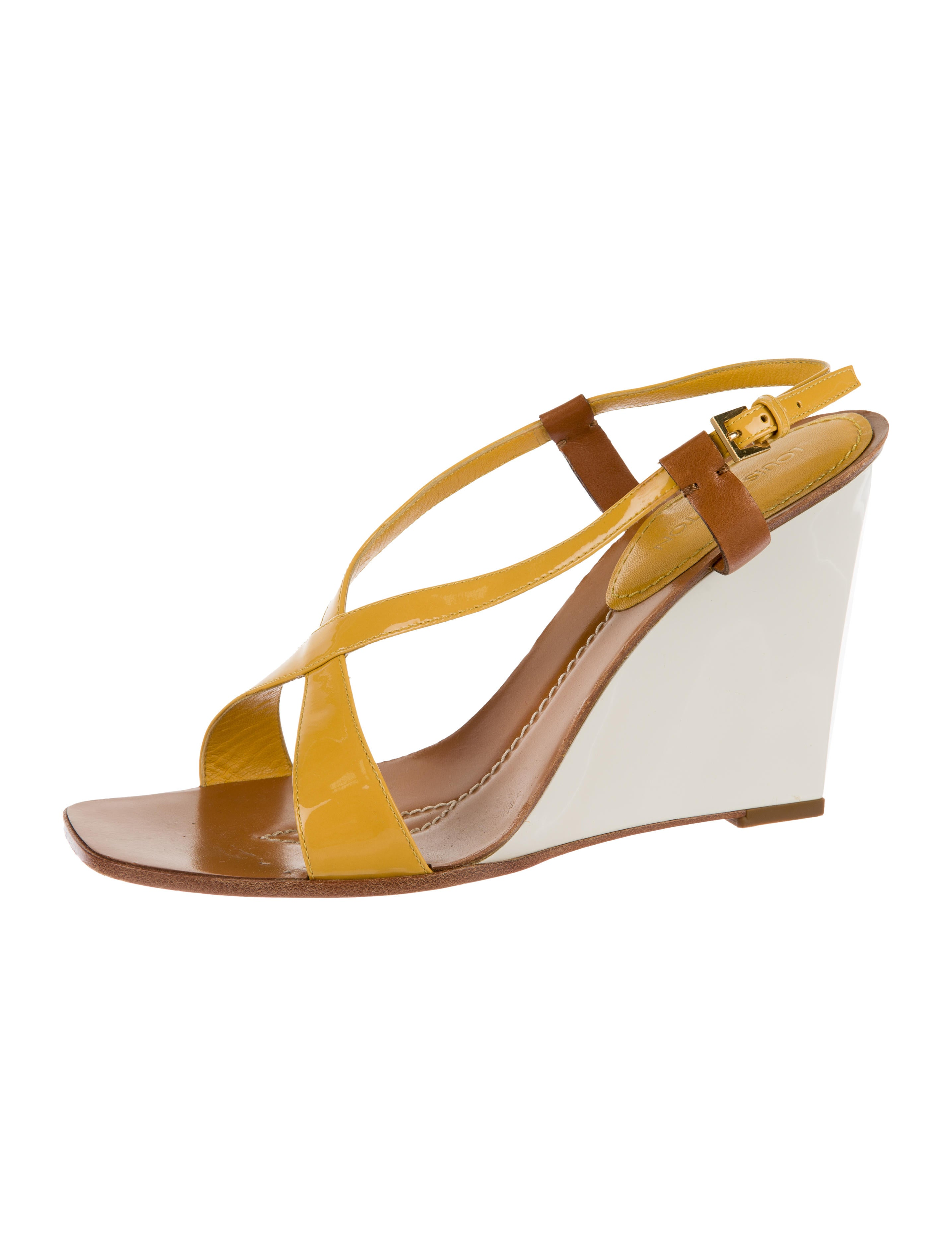 louis vuitton patent leather wedge sandals shoes