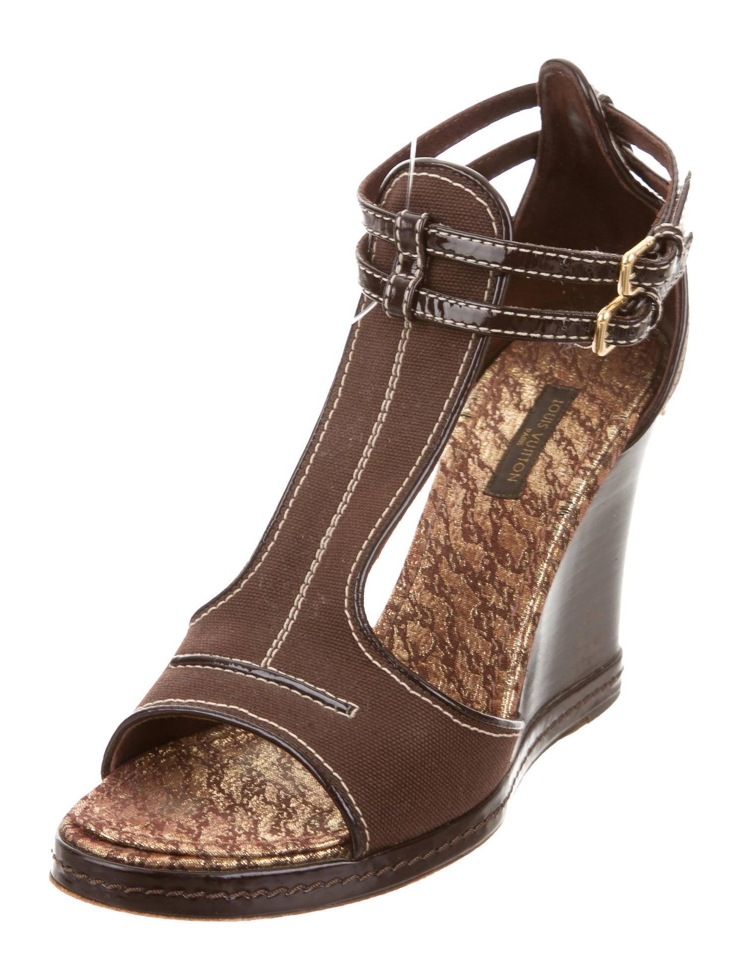 louis vuitton canvas wedge sandals shoes lou105656