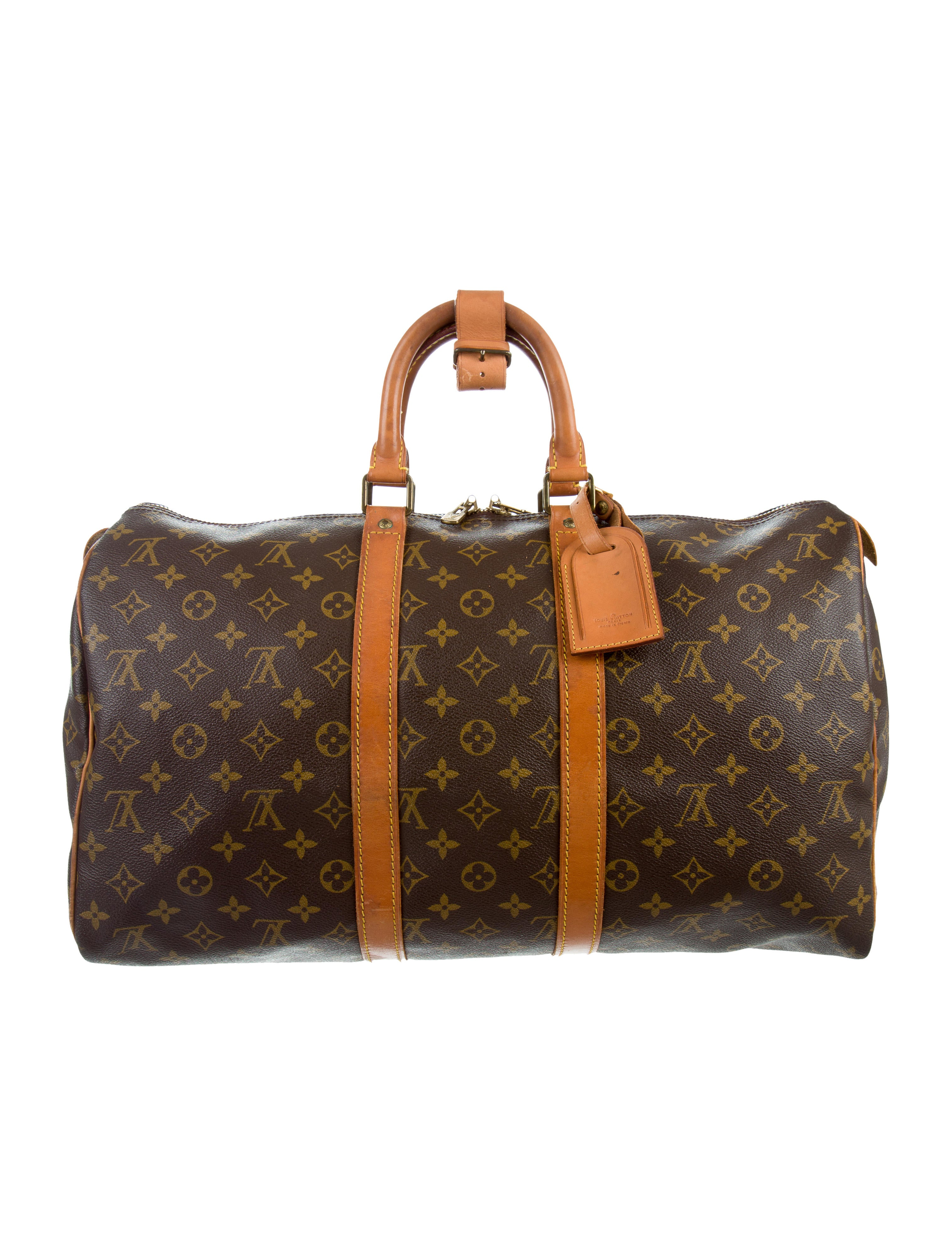 louis vuitton monogram keepall 45 bags lou106207 the realreal. Black Bedroom Furniture Sets. Home Design Ideas