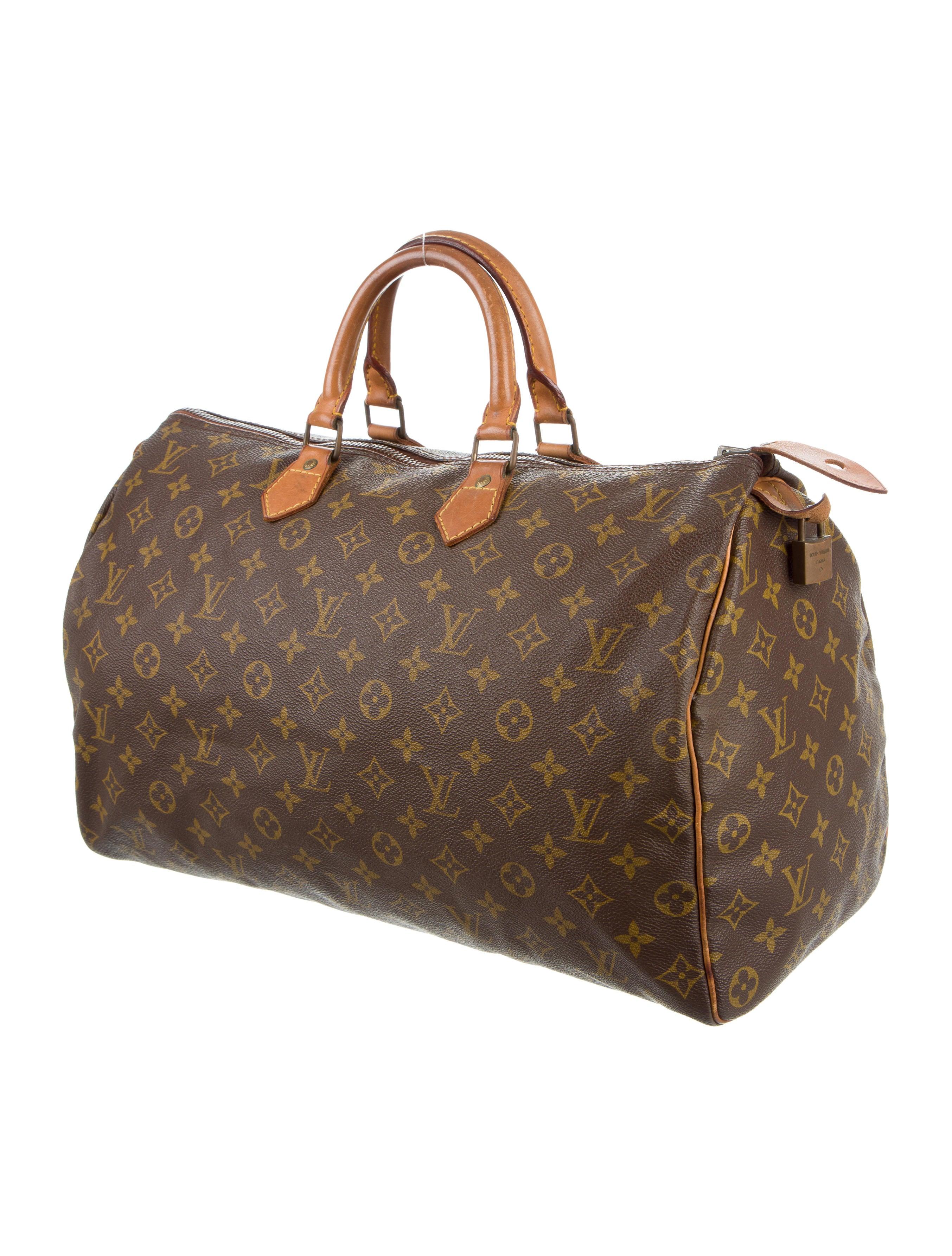louis vuitton monogram speedy 40 handbags lou107146 the realreal. Black Bedroom Furniture Sets. Home Design Ideas
