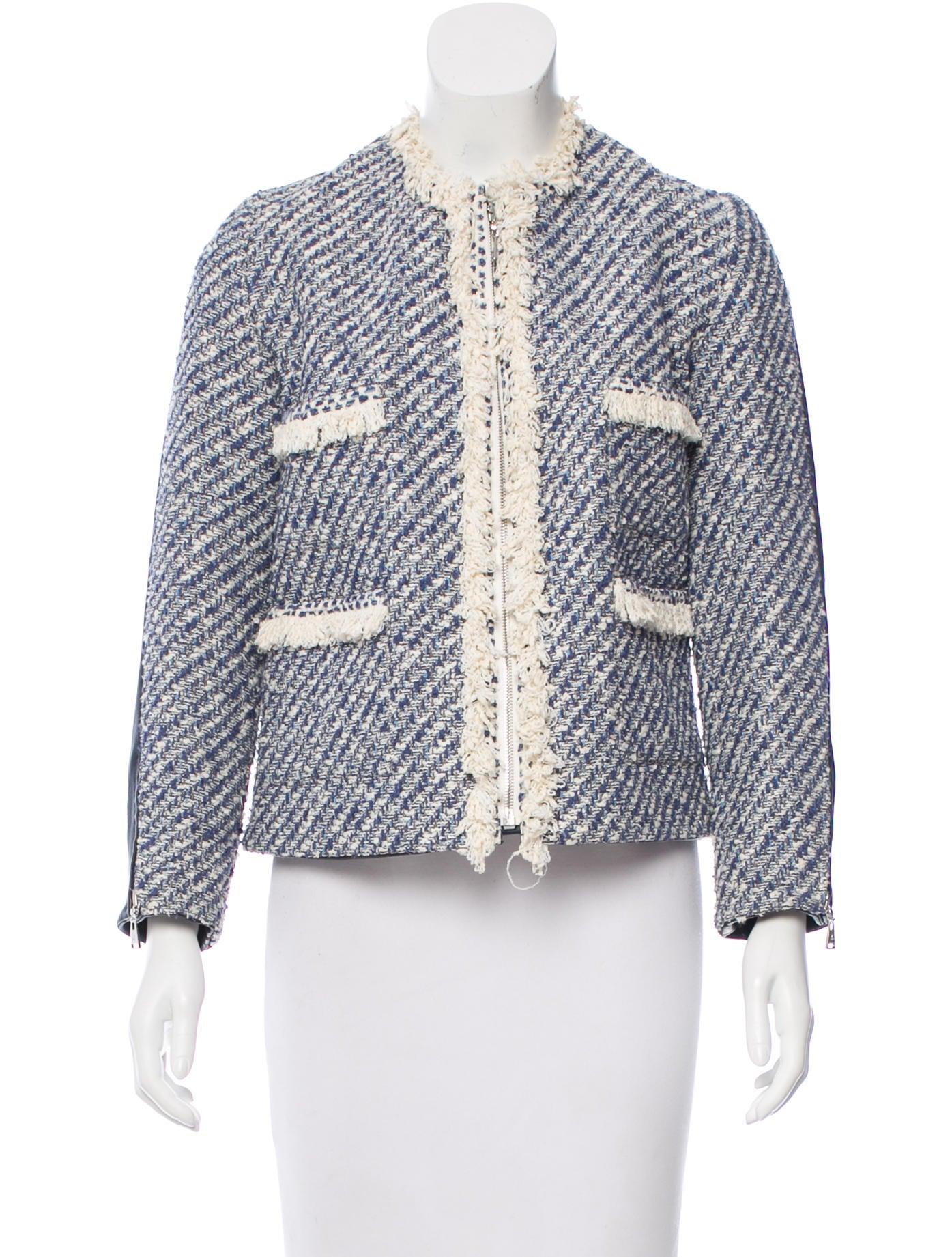 Tweed and leather jacket