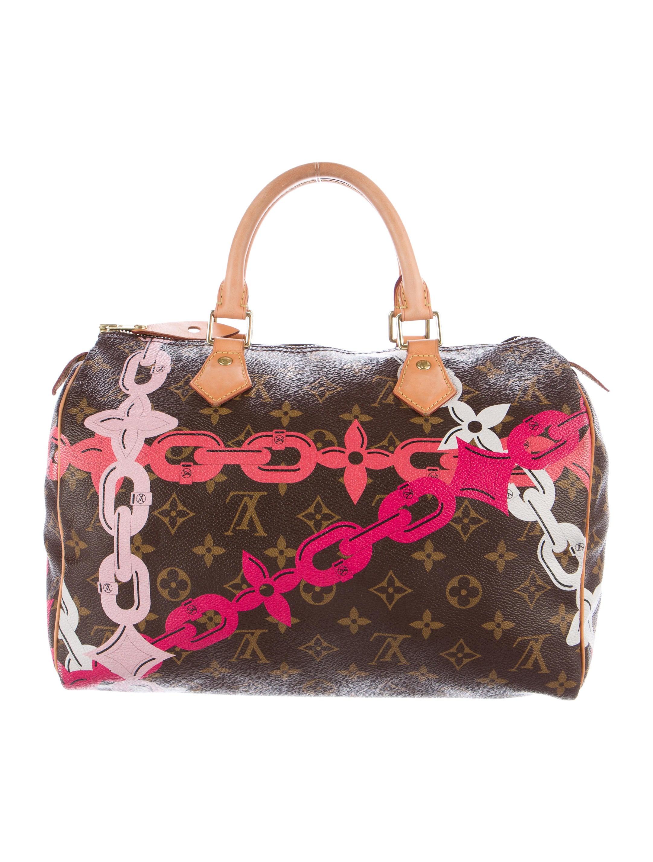 Louis Vuitton 2016 Monogram Chain Flower Speedy 30 Handbags Lou107423 The Realreal
