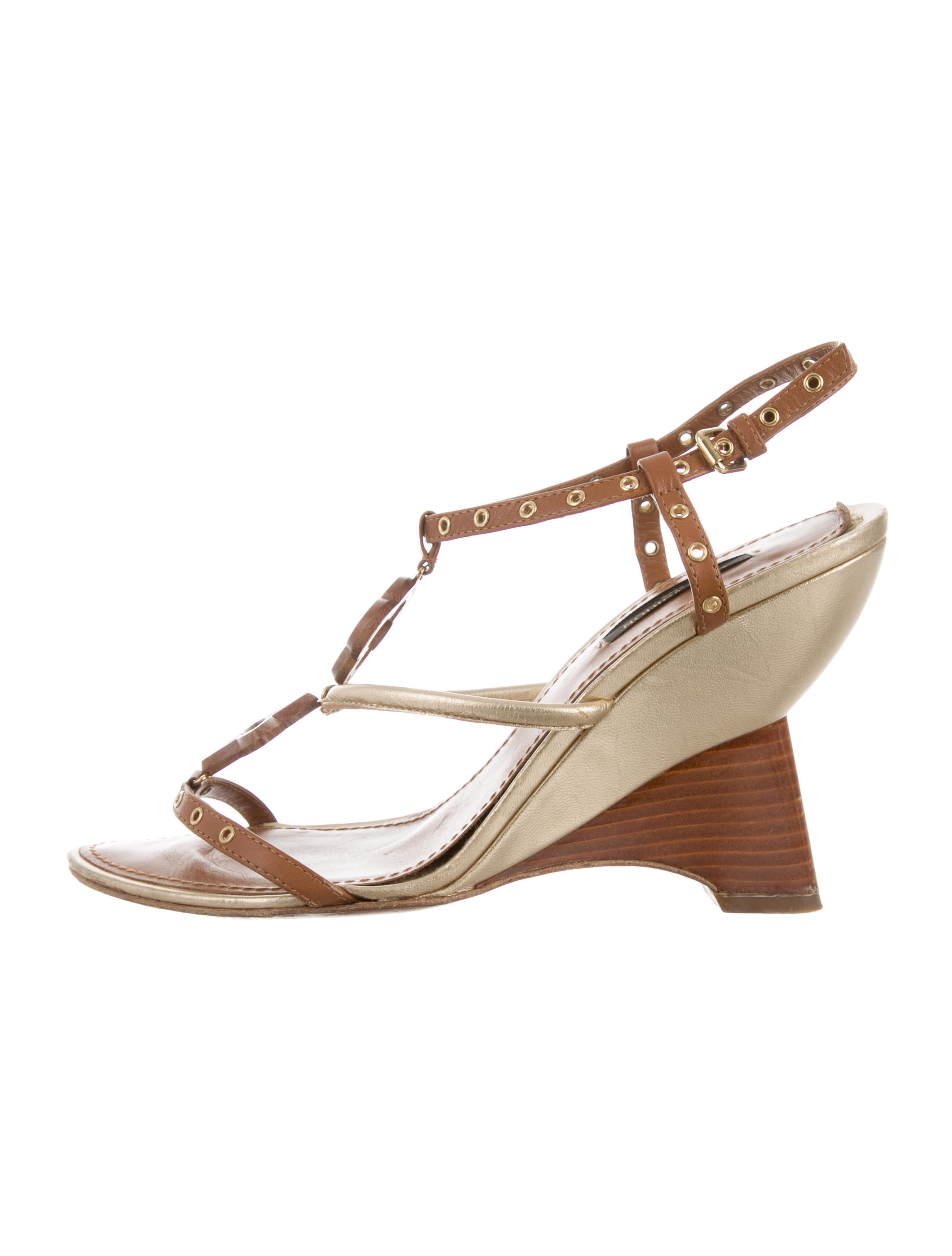 louis vuitton embellished wedge sandals shoes