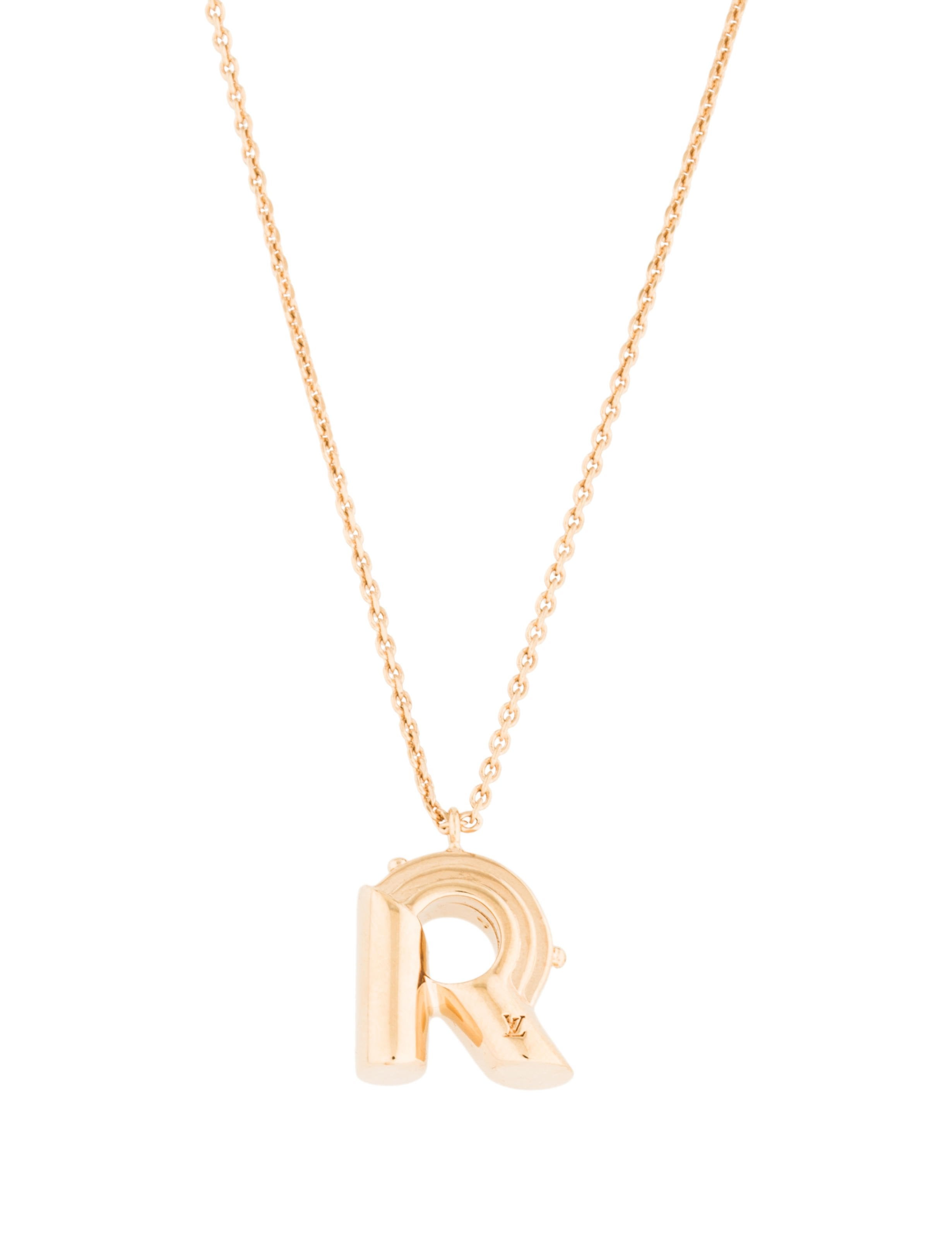 Louis vuitton lv me necklace letter r necklaces for Louis vuitton letter necklace