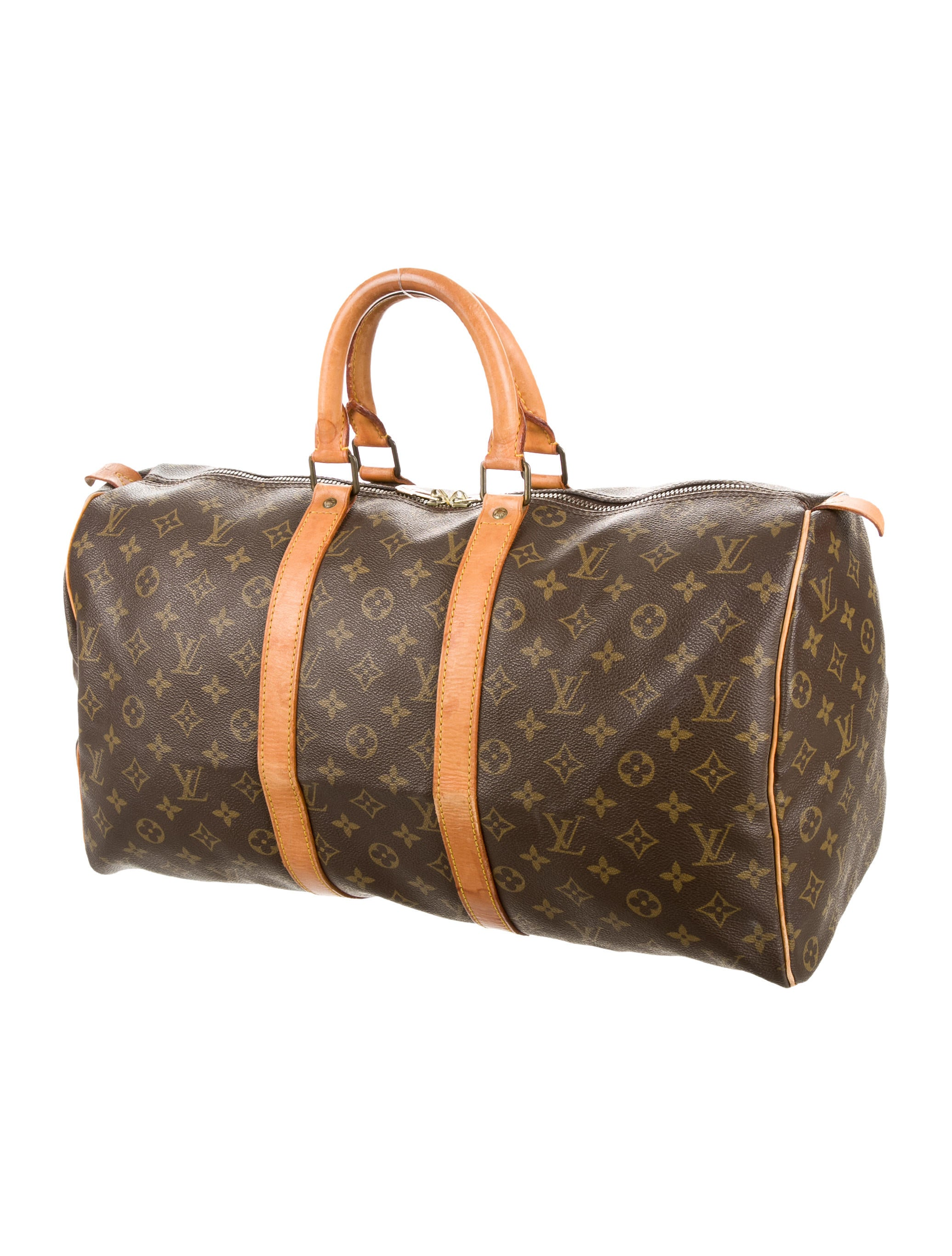 louis vuitton monogram keepall 45 handbags lou108922 the realreal. Black Bedroom Furniture Sets. Home Design Ideas