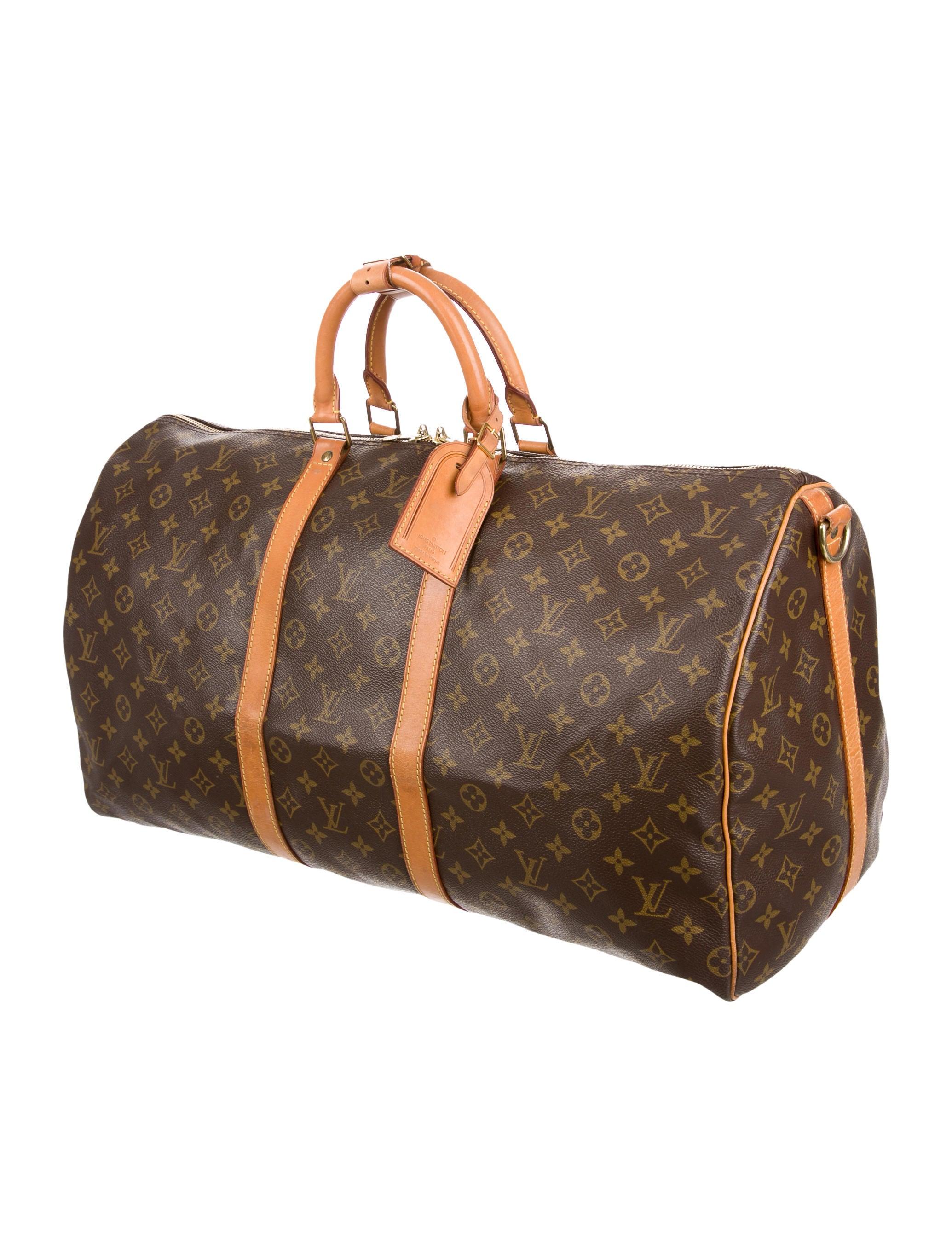 louis vuitton monogram keepall bandouli re 55 bags lou110655 the realreal. Black Bedroom Furniture Sets. Home Design Ideas