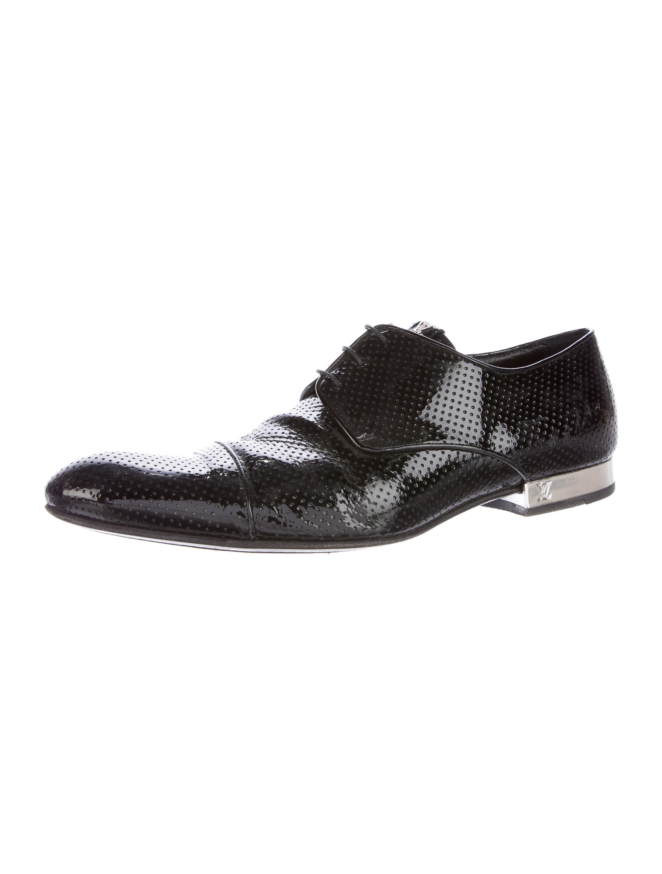 louis vuitton perforated patent leather derby shoes