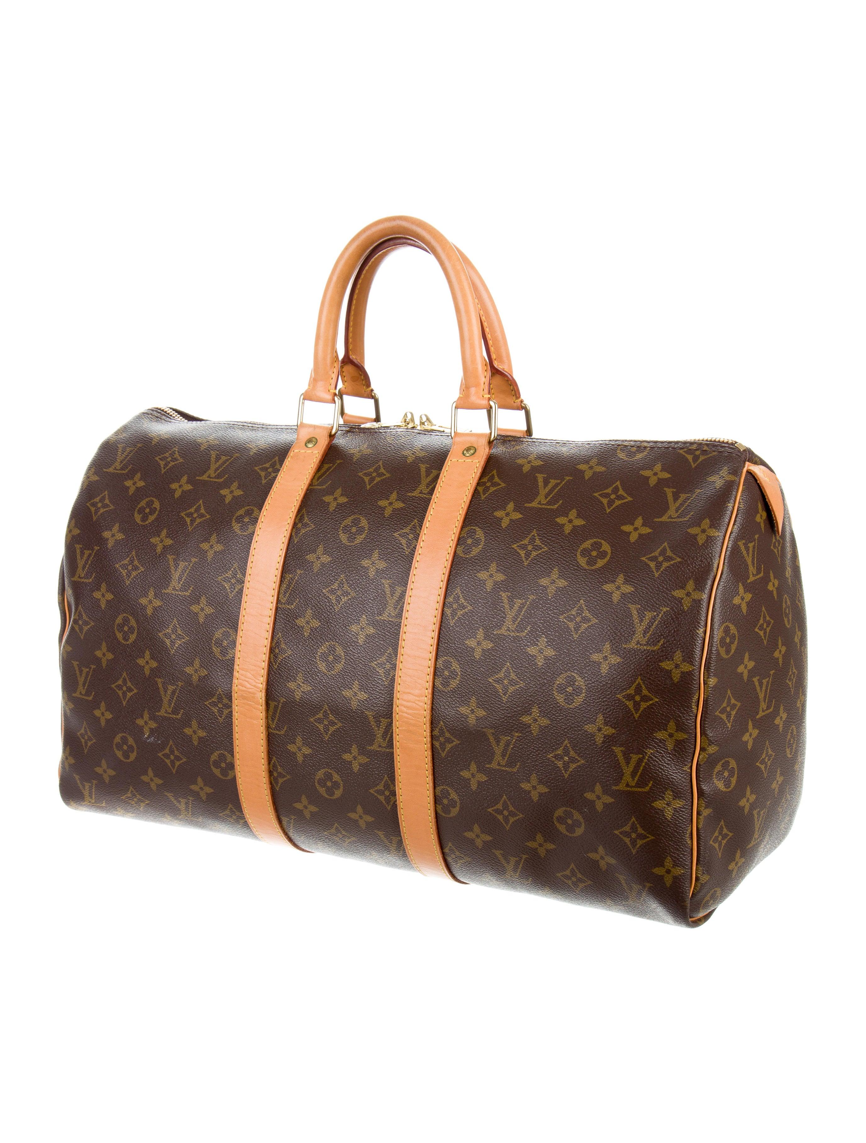 louis vuitton monogram keepall 45 handbags lou110899 the realreal. Black Bedroom Furniture Sets. Home Design Ideas