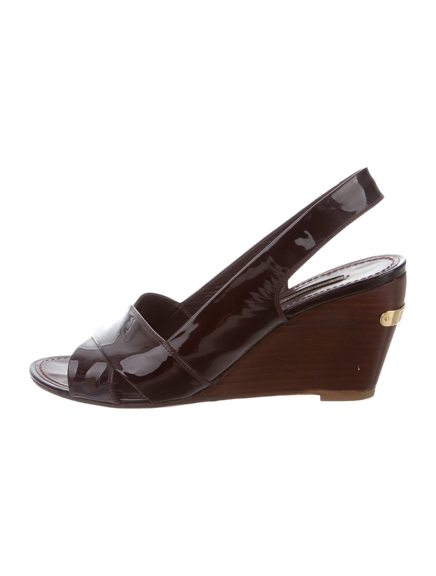 louis vuitton slingback wedge sandals shoes lou111091