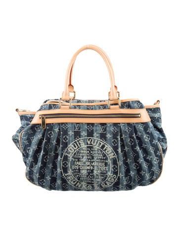 Louis Vuitton Monogram Denim Porte Epaule Raye GM None