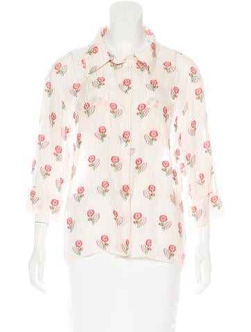 Louis Vuitton Sheer Jacquard Top None