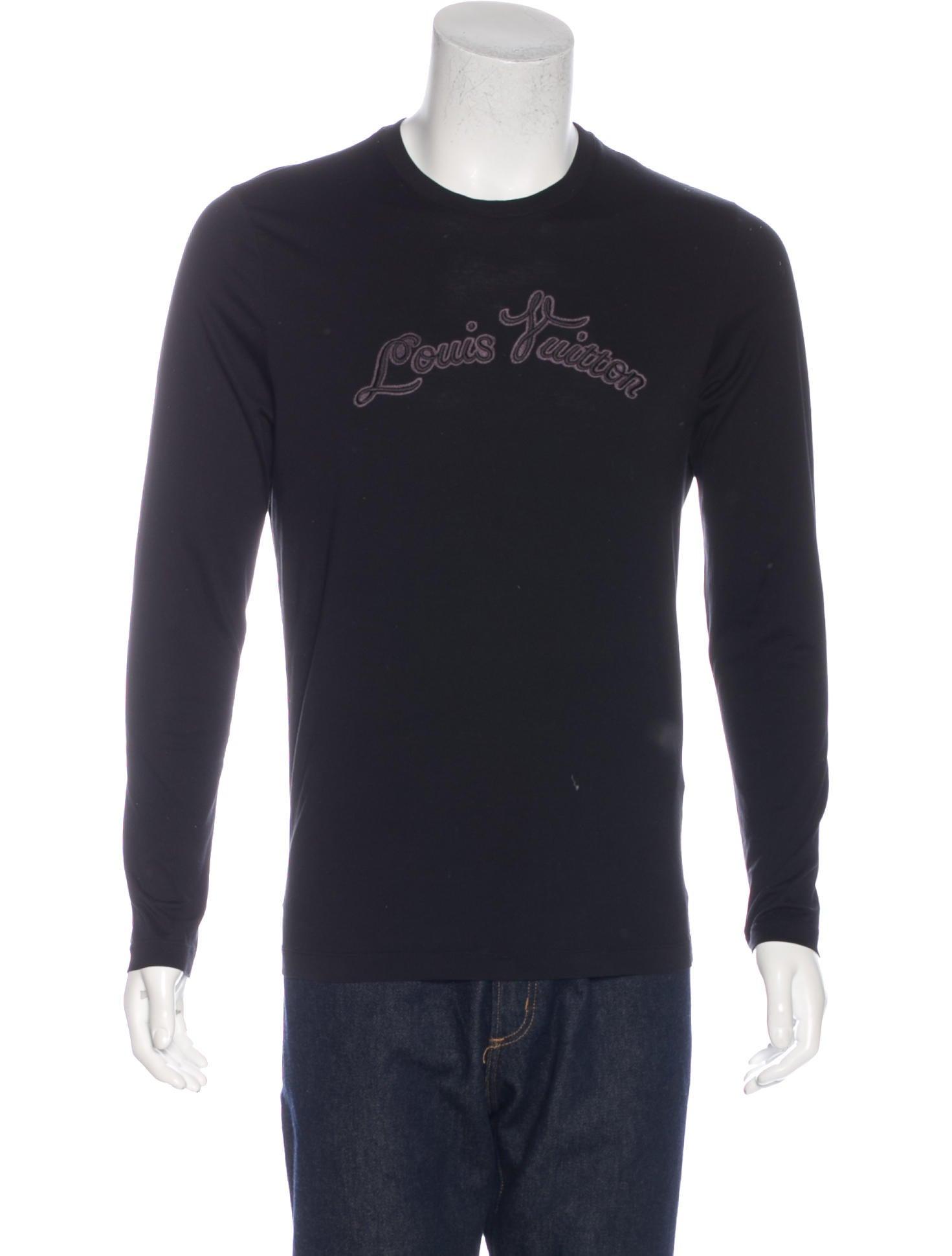 Louis vuitton logo embroidered t shirt clothing for Shirt with logo embroidered
