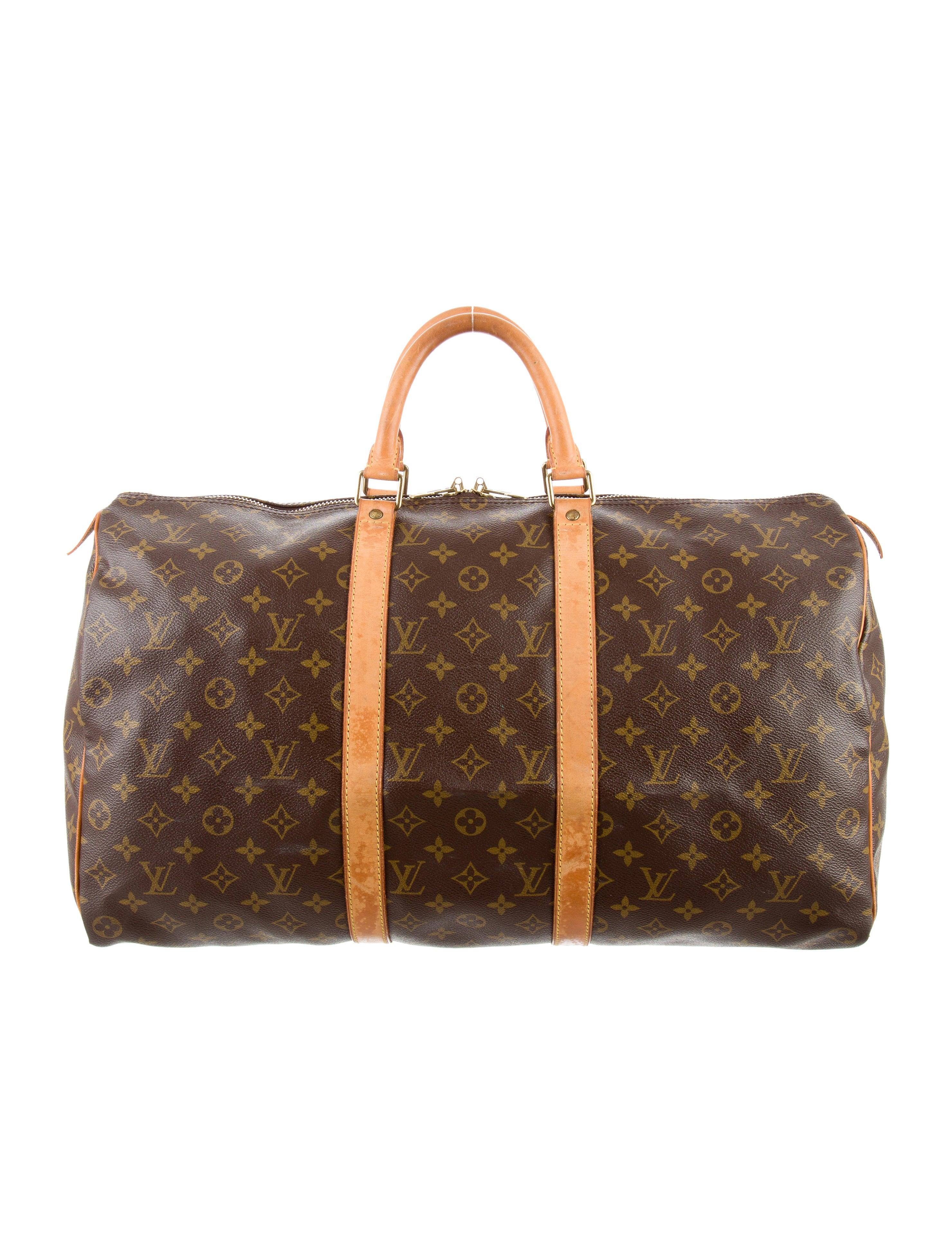 louis vuitton monogram keepall 50 handbags lou112152 the realreal. Black Bedroom Furniture Sets. Home Design Ideas
