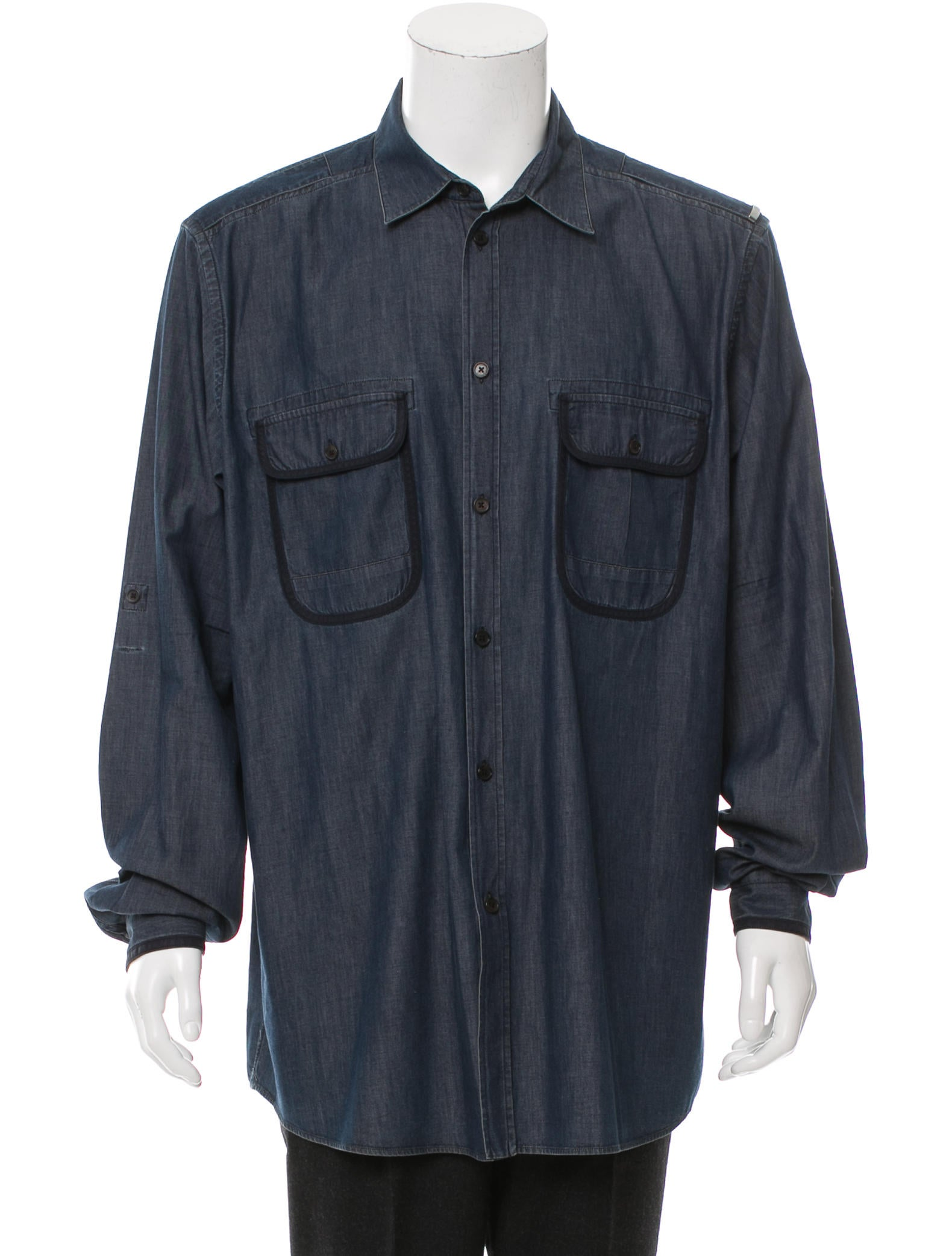 louis vuitton chambray button up shirt clothing