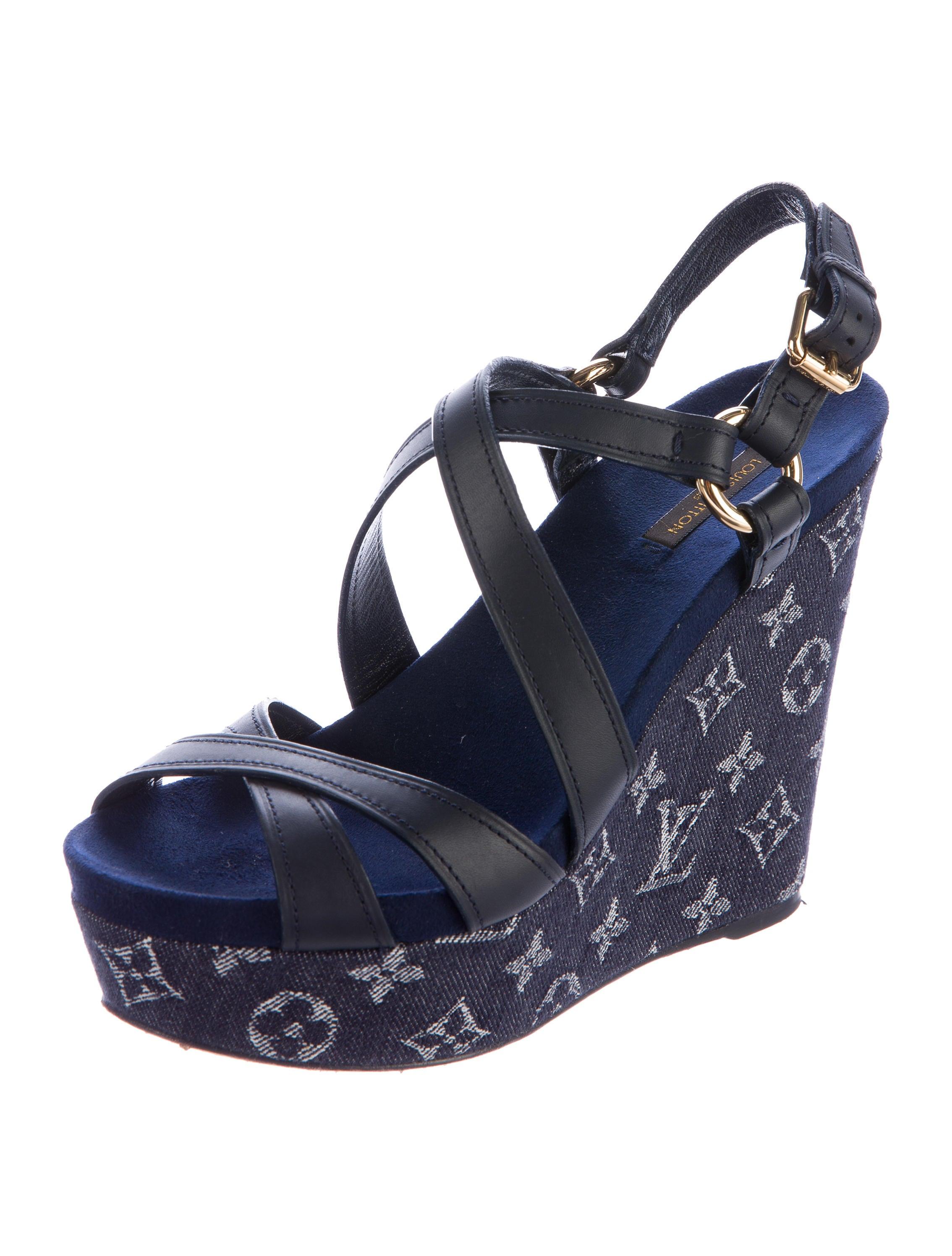 louis vuitton monogram idylle wedge sandals shoes