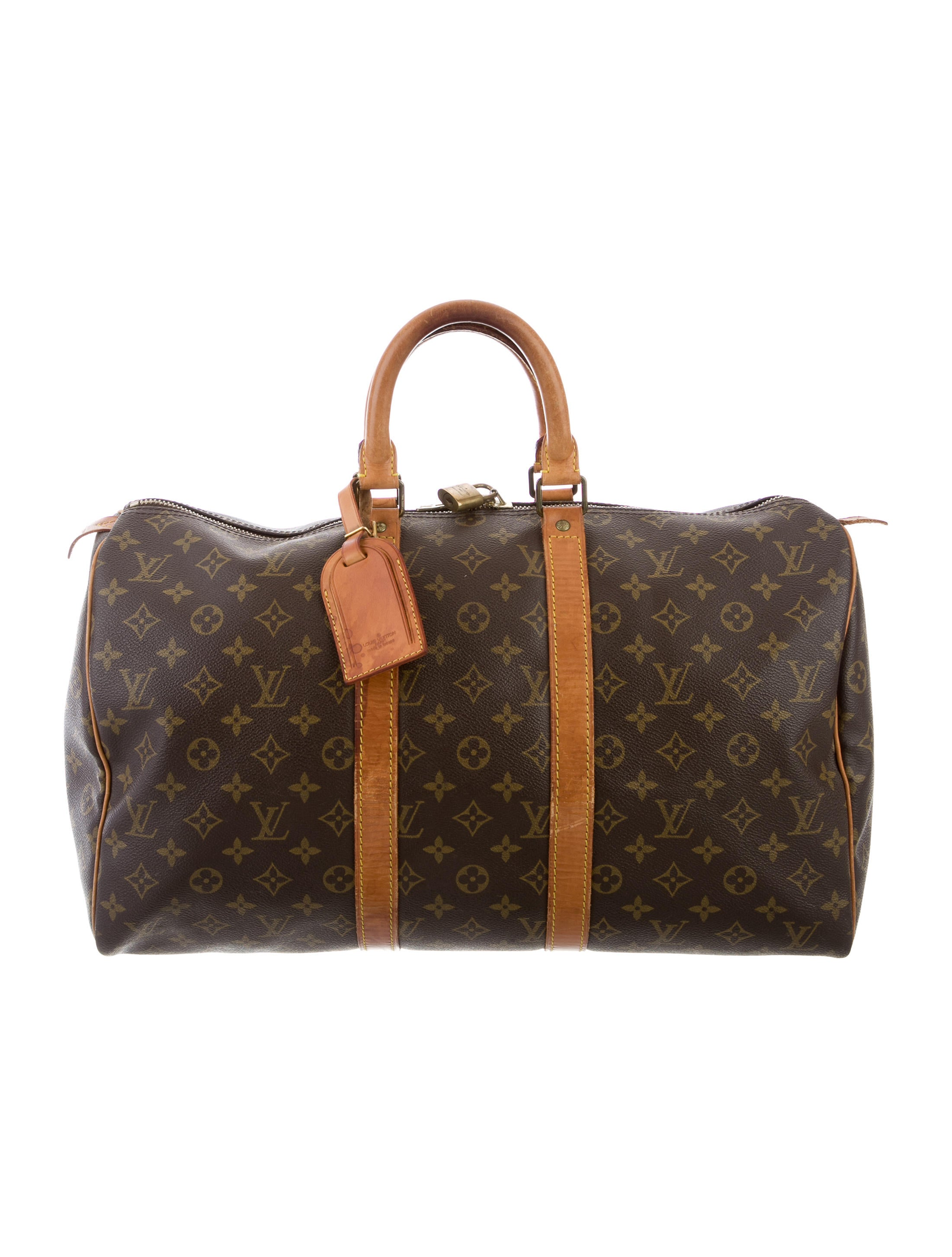 louis vuitton monogram keepall 45 handbags lou116399 the realreal. Black Bedroom Furniture Sets. Home Design Ideas