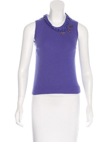Louis Vuitton Embellished Cashmere Top None
