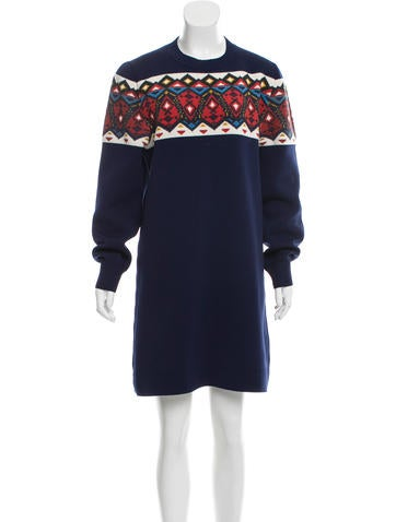 Louis Vuitton Aztec Print Crew Neck Dress None