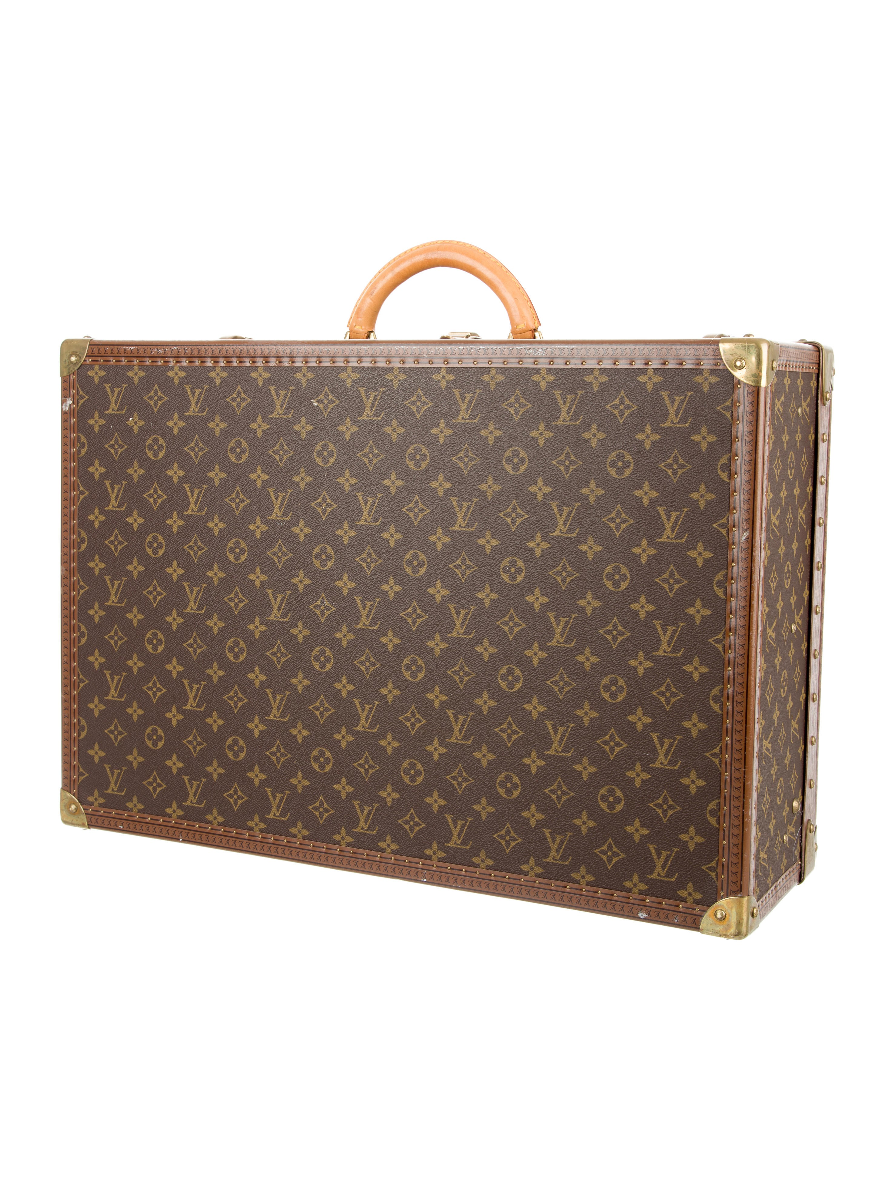 louis vuitton monogram alzer 60 small trunk luggage lou117975 the realreal. Black Bedroom Furniture Sets. Home Design Ideas