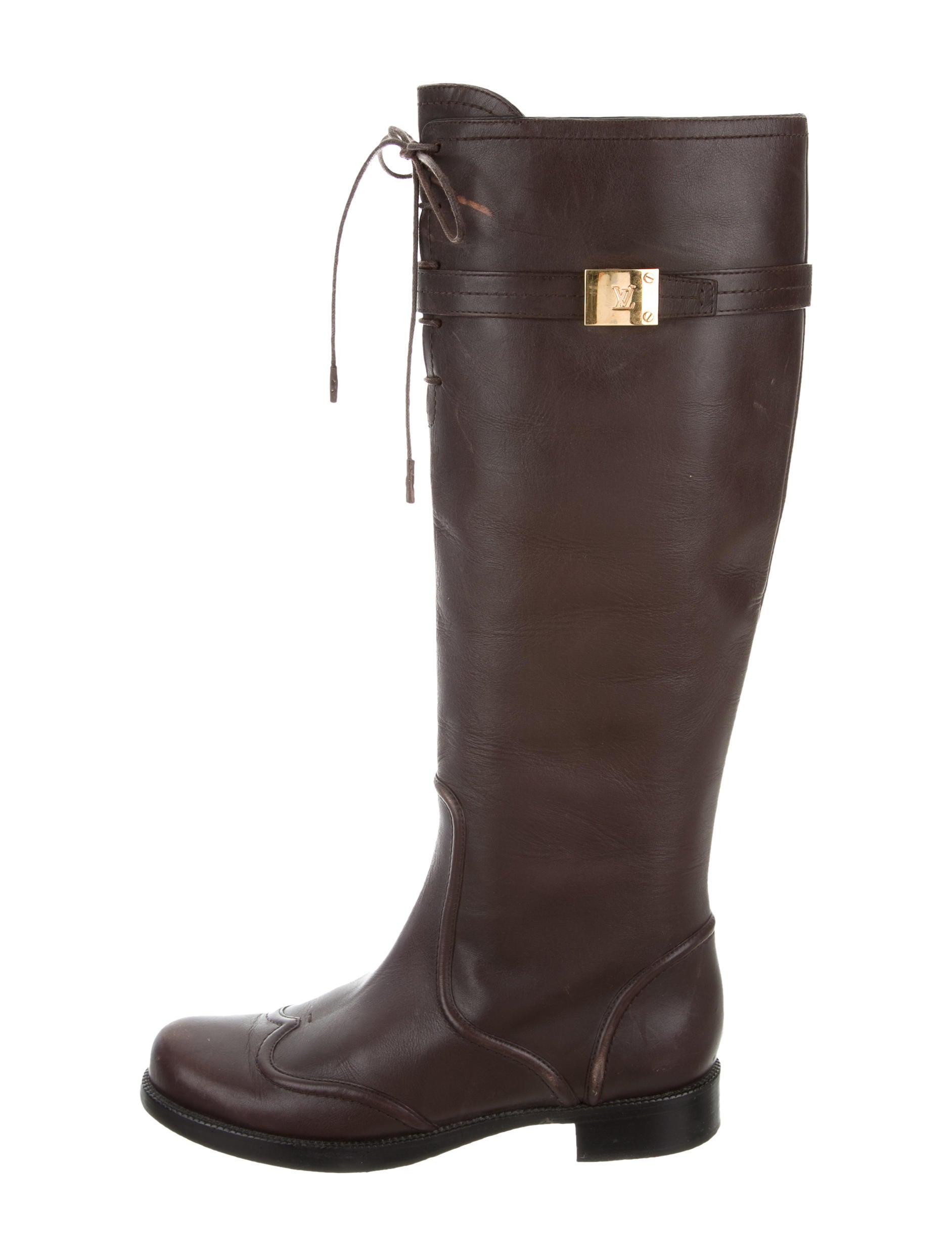 louis vuitton leather knee high boots shoes lou120008