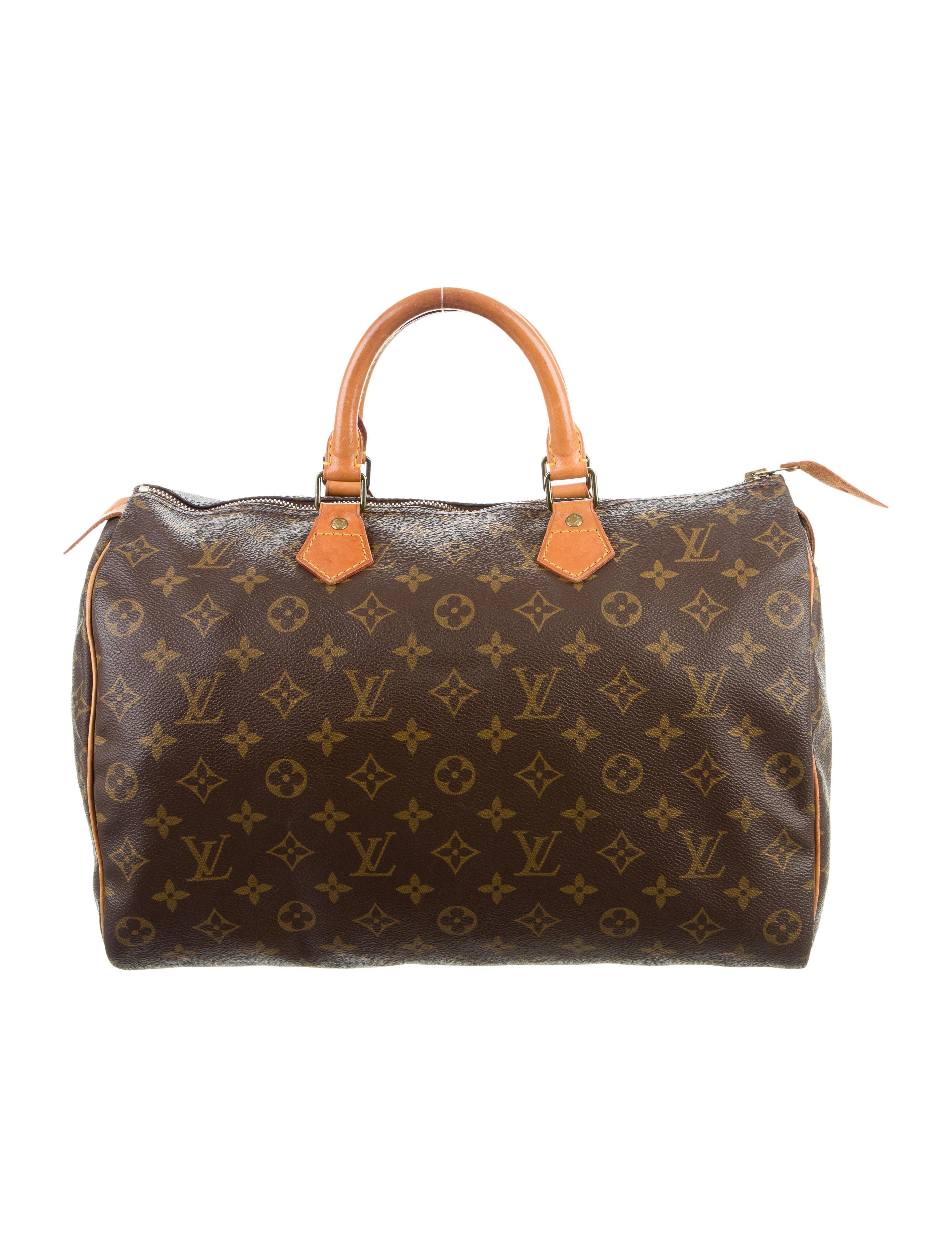 louis vuitton monogram speedy 35 handbags lou120904 the realreal. Black Bedroom Furniture Sets. Home Design Ideas