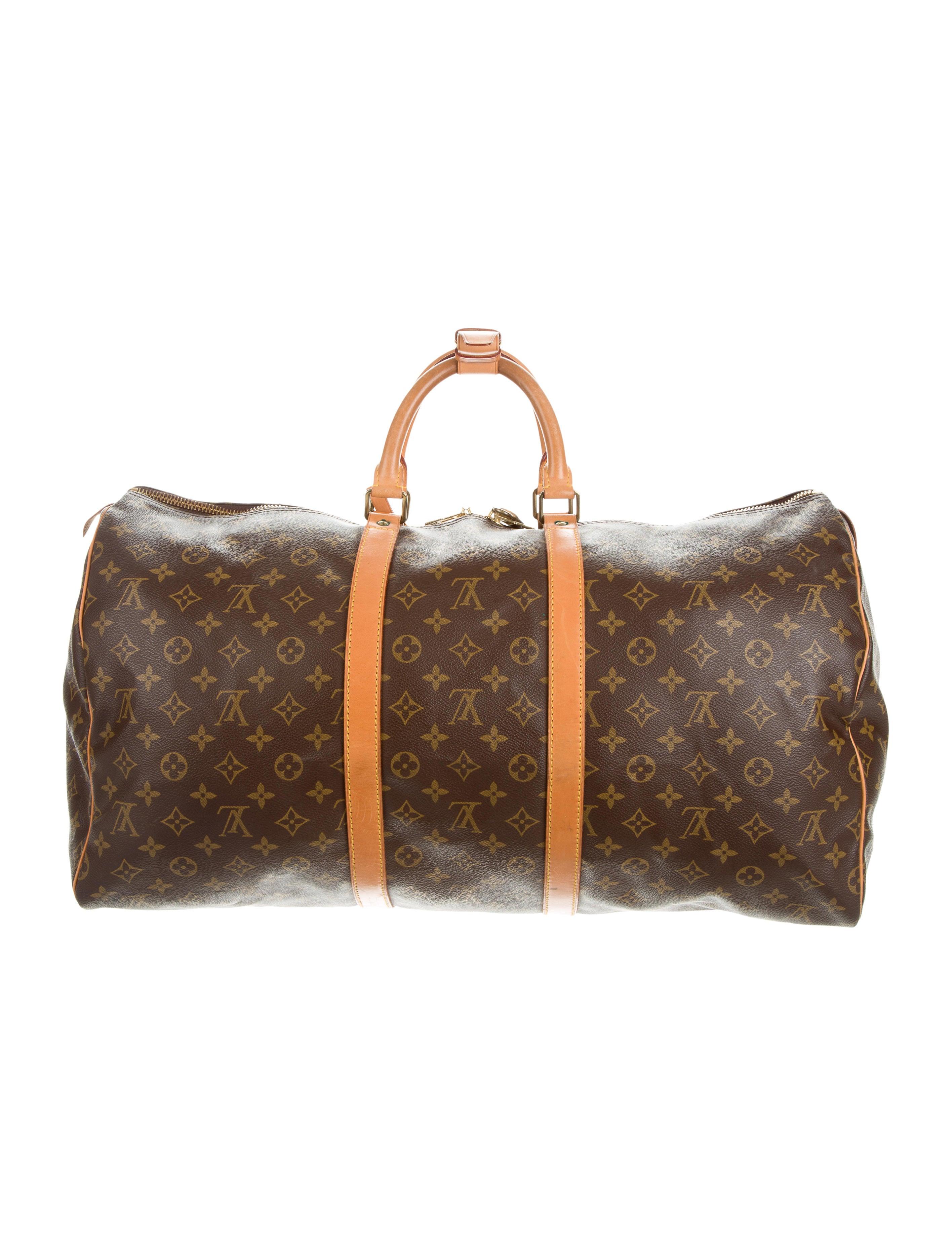 louis vuitton monogram keepall 55 handbags lou121222 the realreal. Black Bedroom Furniture Sets. Home Design Ideas