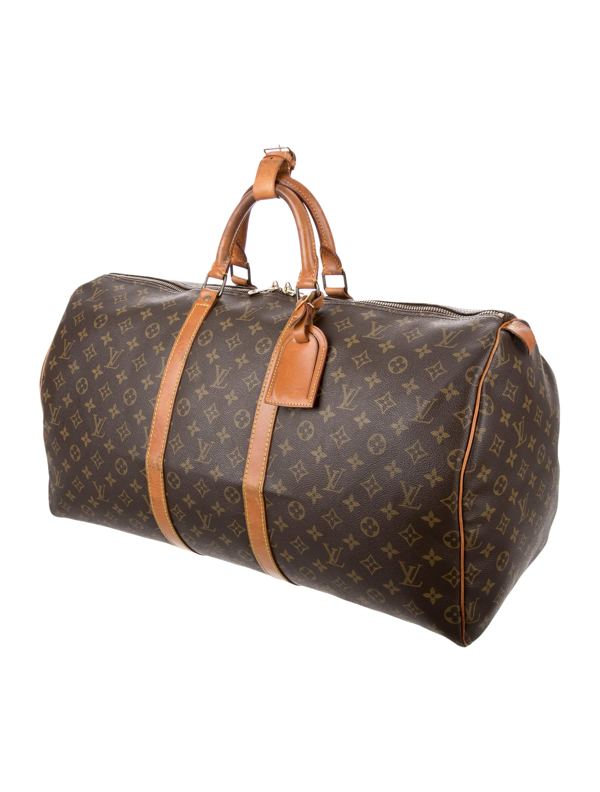 louis vuitton monogram keepall 55 handbags lou121288 the realreal. Black Bedroom Furniture Sets. Home Design Ideas