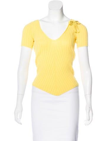 Louis Vuitton Rib Knit Short Sleeve Top None