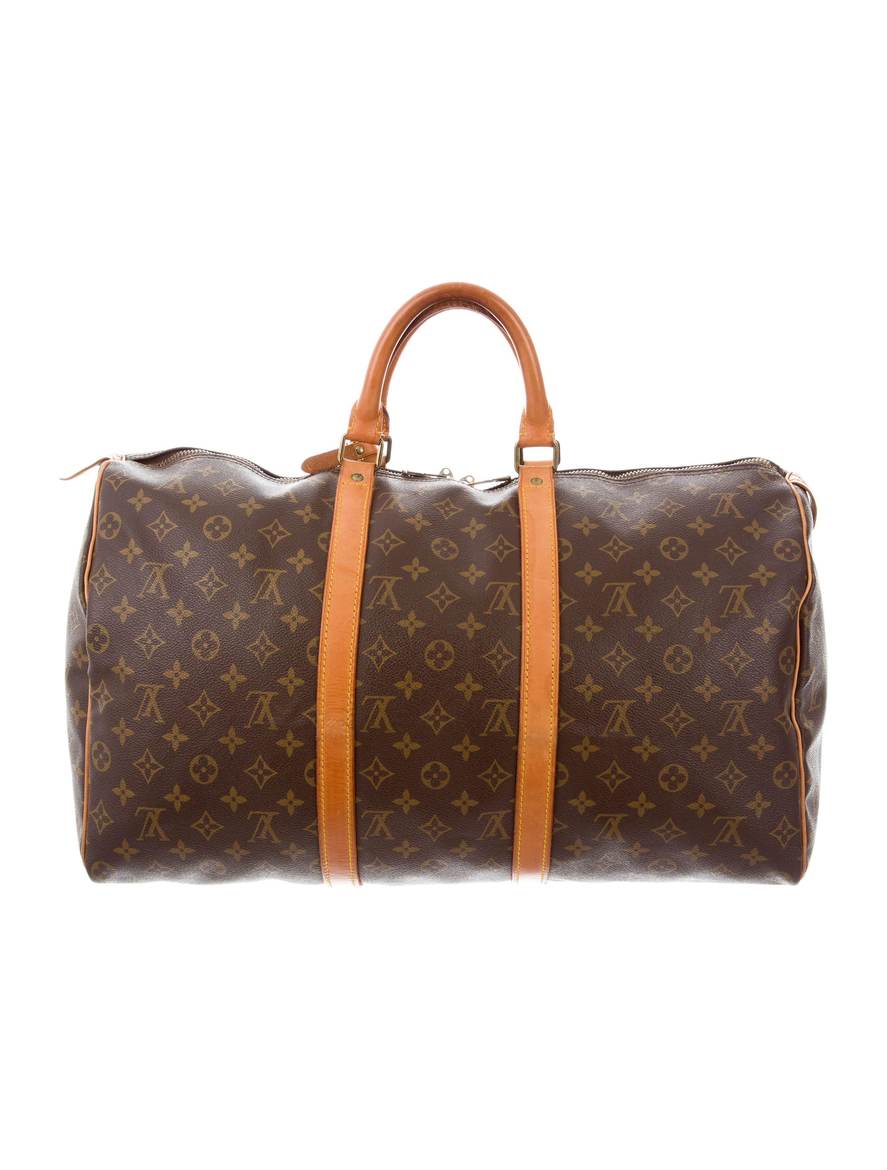 louis vuitton monogram keepall 50 handbags lou122766 the realreal. Black Bedroom Furniture Sets. Home Design Ideas