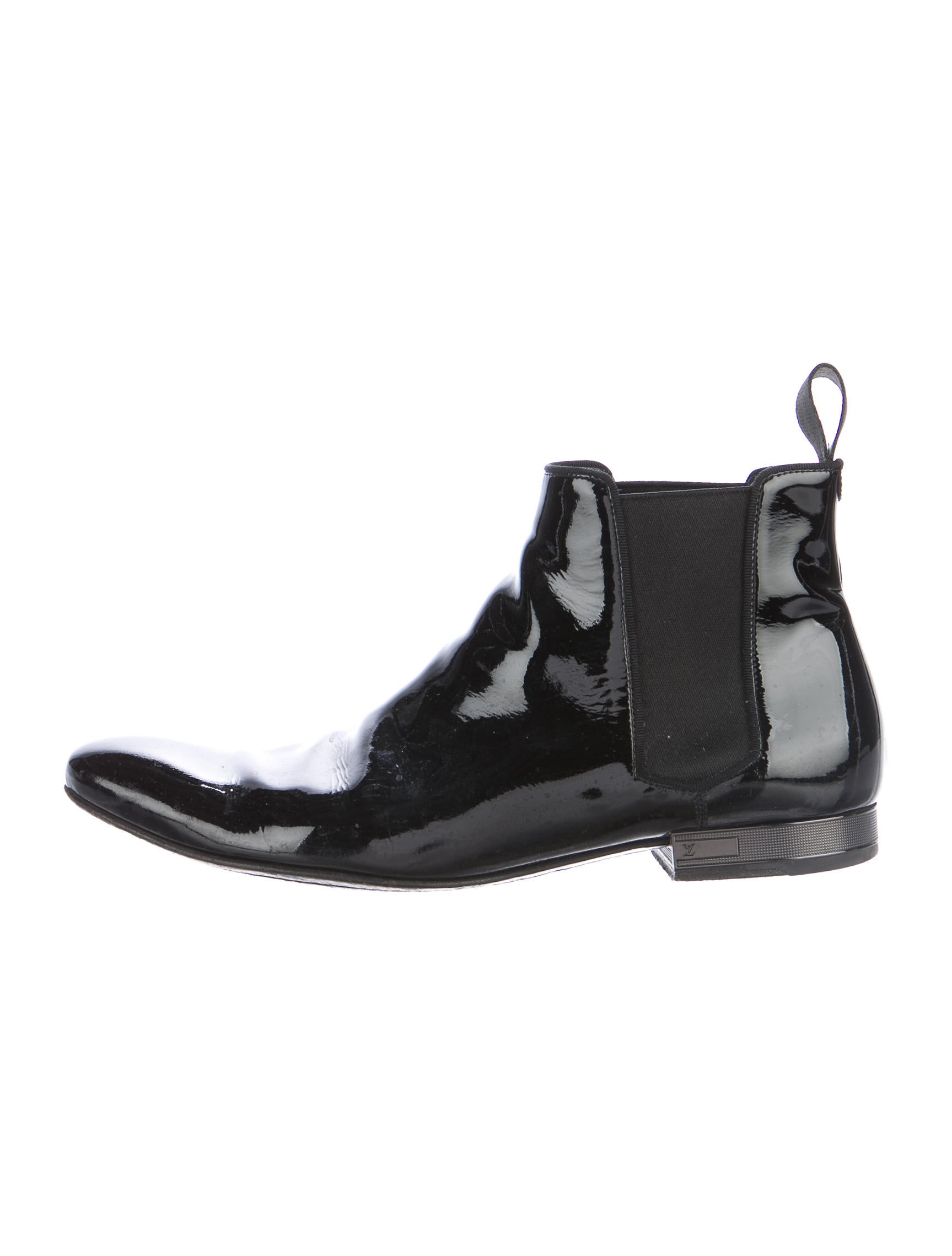 louis vuitton patent leather chelsea boots shoes