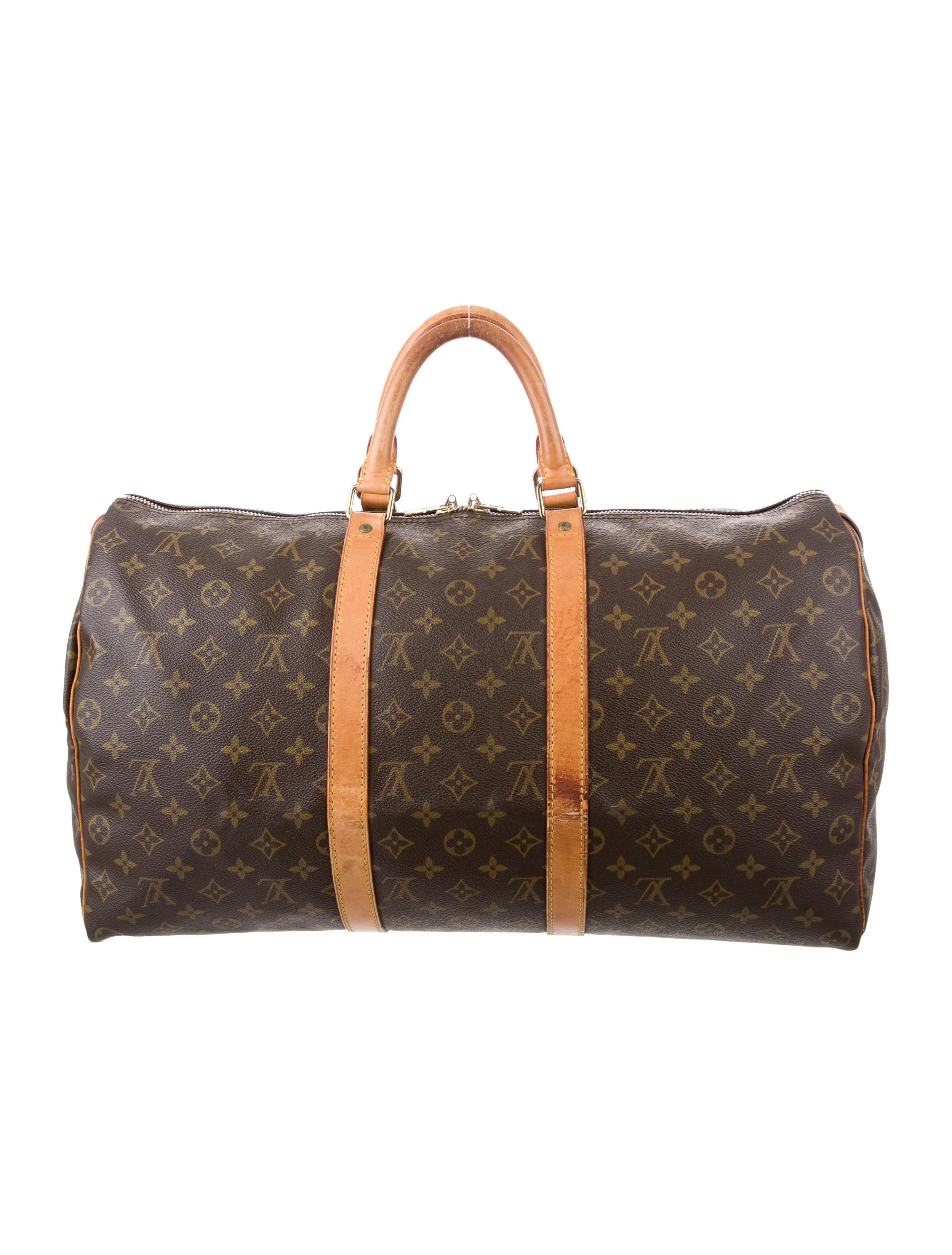 louis vuitton monogram keepall 50 handbags lou123832 the realreal. Black Bedroom Furniture Sets. Home Design Ideas